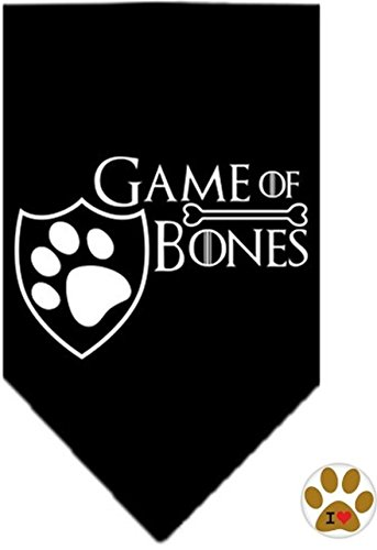 Dog Game Of Thrones Costume (Game of Bones Bandana Scarf and Pin Set - Available in 3 Colors Choices - Dog Sizes Small thru Large (Large (fits 15