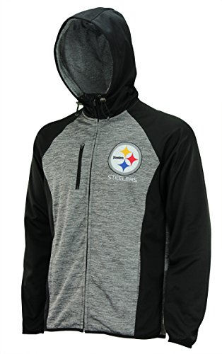 L Heathered Grey Solid Fleece Full Zip Hooded Jacket, Pittsburgh Steelers Small ()