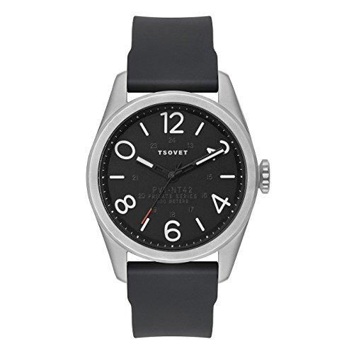 Silver Jpt Black Band Watch Men's DialLeather W Tsovet 45 Nt42nt111040 HI2W9ED