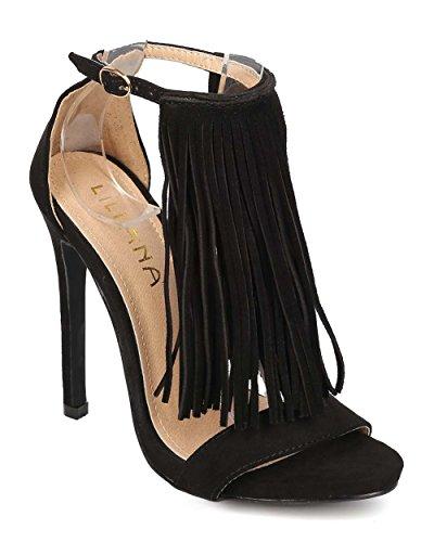 - Liliana Women Faux Suede Open Toe T-Strap Fringe Stiletto Sandal EI18 - Black (Size: 6.0)