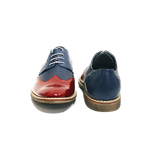 Modello Vittorino - Handmade Colorful italiennes Chaussures en cuir Oxfords Casual Souliers de Formal Prime Unique Vintage Gift Lace Up Robe Hommes