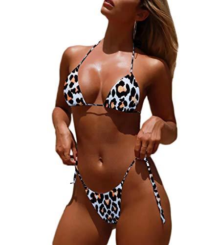 Tainehs Women's Sexy Halter Thong Bikini Tie Side Bottom Triangle Bikini Swimsuits Micro Bikini Sets Bathing Suits ()