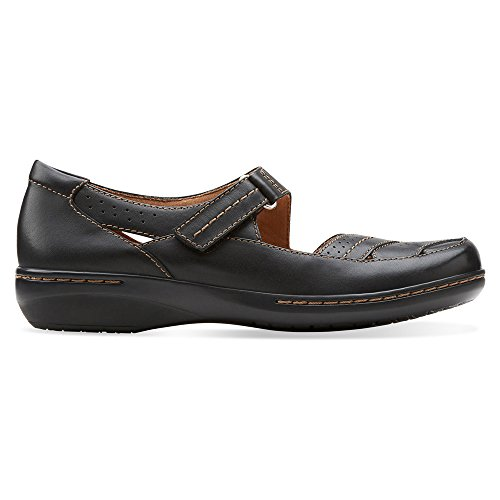 Clarks Womens Evianna Date Flat Black Leather