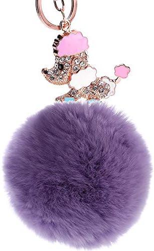 レディースキーホルダー・チャーム 女性のための女の子の財布ハンドバッグトートバックパック携帯電話の装飾ギフト合金キーホルダー漫画子犬干支ペンダントレックスヘアボールペンダントキーチェーンキーリングアクセサリー 可愛い 飾り プレゼント (色 : Light purple)
