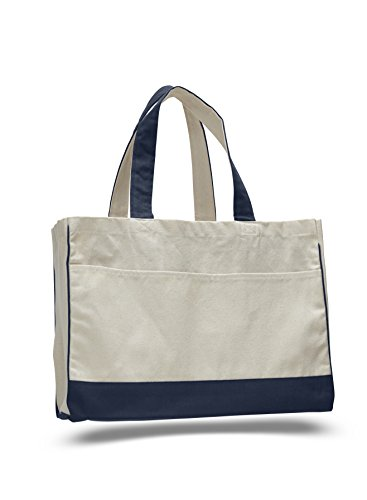 """17"""" Two Tone Cotton Canvas Shopping Tote Bag w/Large Front Pocket Pool Beach Travel Tote Bag Eco-Friendly (1, Navy)"""