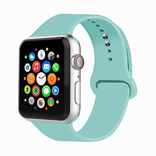 IYOU Sport Band Compatible with Watch Band 38MM 42MM 40MM 44MM, Soft Silicone Replacement Sport Strap Compatible with 2018 Watch Series 5/4/3/2/1(Marine Green,38MM, M/L) (Cheap Stuffs Under 1 Dollar)