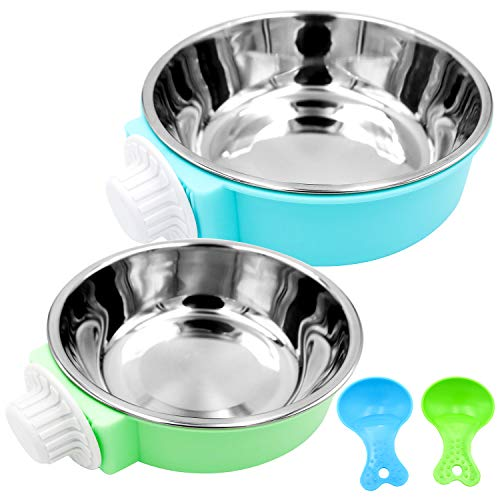 Bac-kitchen Crate Dog Bowl - Removable Stainless Steel Hanging Pet Cage Bowl Food & Water Feeder Coop Cup for Cat Puppy Bird Pets Guinea Pigs (Blue+Green)