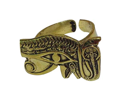 Egyptian Egypt Finger Ring Hieroglyphics Hieroglyphic ancient Horus Eye Pharaoh Pharaohs Brass Hand Engraved Adjustable Costume Jewelry Accessory Handmade Queen Nefertiti Cleopatra Souvenir 105 -