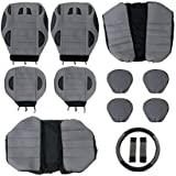 Tirol Universal 13PCS Car Seat Cover Faux Leather Front Rear Covers Wheel Cover Seat Cover Set