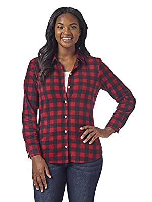 Riders by Lee Indigo Women's Long Sleeve Button Front Pattern Fleece Shirt