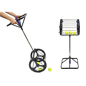 Image of Lesmin 2 in 1 Tennis Balls Pickup Automatic Balls Receiver with Handle for Storage Adjustable Height Hold Up 55 Tennis Balls Ball Hoppers