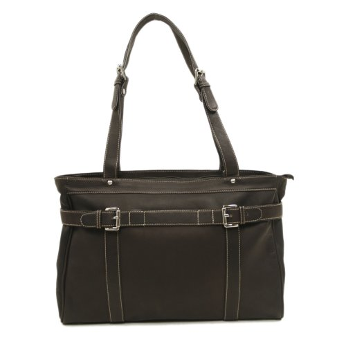 Piel Leather Belted Computer Tote, Chocolate, One Size by Piel Leather