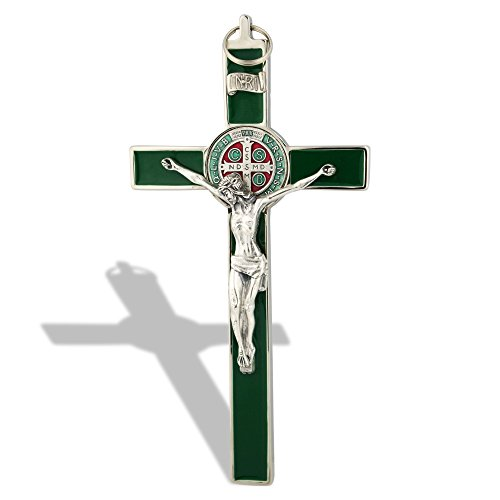 (Saint Benedict Wall Crucifix with Colored Enamel)