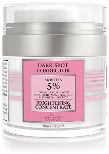 Divine Derriere Dark Spot Corrector Remover For Face & Melasma Treatment Fade Cream- Compare to Hydroquinone Cream for Skin Lightening - Contains Arbutin, Vitamin C, Kojic Acid, Mandelic Acid 1 fl oz.
