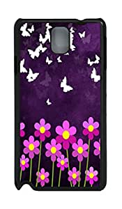 Cute Pink Flowers And Butterflys PC Case Cover for Samsung N9000 ¡§C Black