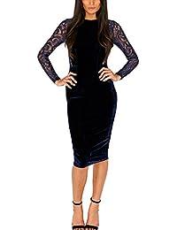 Womens Long Sleeve Velvet Lace Midi Wrap Dress