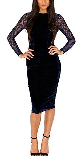 blue velvet dress long sleeve - 2