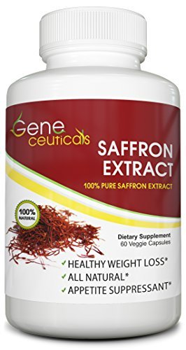 Geneceuticals Saffron Extract (Crocus Sativus) – Best for Appetite Control and Suppressant – Works as Mood Booster and Supports Good Eyesight – Standardized to 88.25mg per Vegetarian Capsule – 60 Day Supply