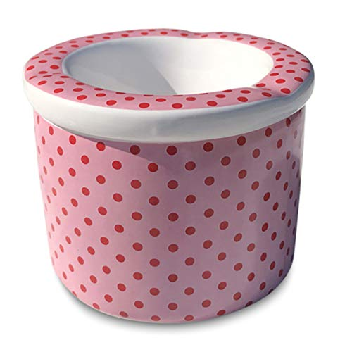 (WHW Whole House Worlds Red Dots Pink Outdoor Smokeless Ashtray with Lift Off Lid, 2 Pieces, Pink with Baby Red Polka Dots, Glazed Ceramic, 3 3/4 in Diameter x 2 3/4 Inches Tall)