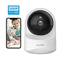 2-Way Audio Night Vision with TF Card Slot and Cloud Motion Detection Brokuca 1080P FHD Home WiFi Camera for Baby//Nanny//Pet Works with Alexa 2.4GHz Baby Monitor