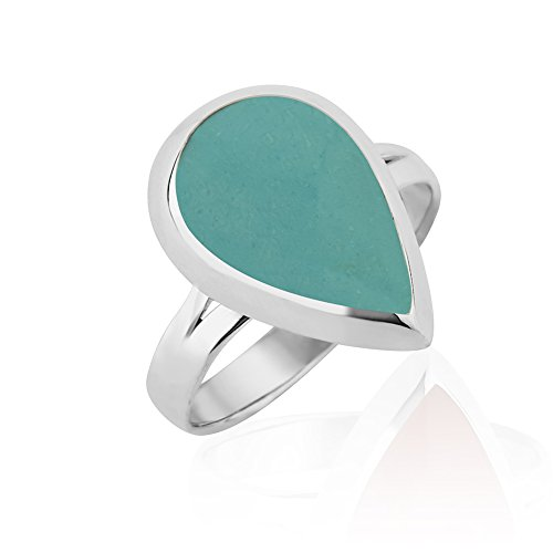 925 Sterling Silver Rimmed Blue Green Reconstructed Turquoise Gemstone Teardrop Ring, Size (Gemstone Teardrop Ring)