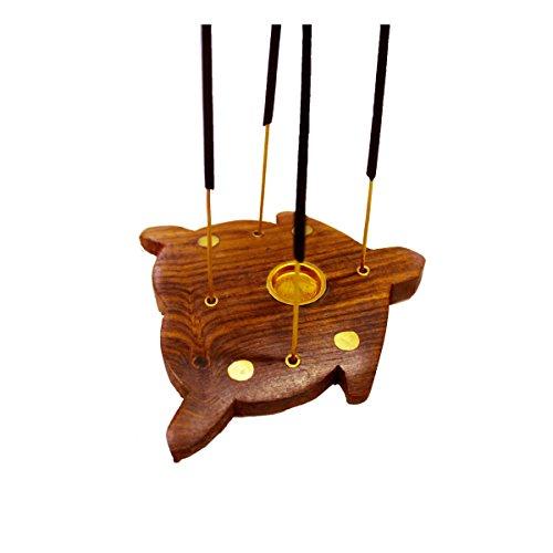 Kamla Sellers Turtle Shaped Burners Wooden Carved Vines Incense Burner, Cones or Sticks, 4