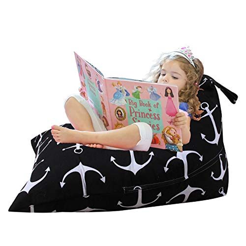 (Injoy Stuffed Animal Bean Bag Chair for Kids and Adults, Canvas Stuffed Seat Organizer 100L/26 Gal, Black)