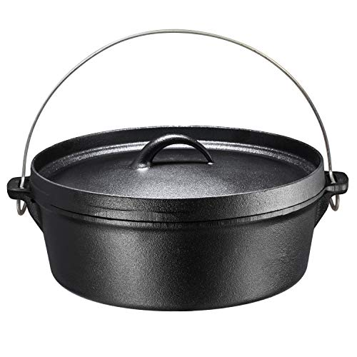 Quart Seasoned Cast Iron Pot - Bruntmor Pre-Seasoned Cast Iron Dutch Oven with Flanged Lid Iron Cover, for Campfire or Fireplace Cooking, Flat Bottom 6-Quart (6 Quart)