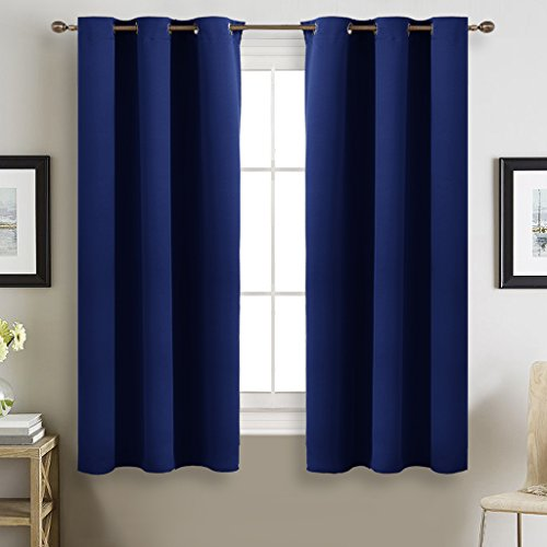 Bedroom Curtains 63 inches Long - NICETOWN Thermal Insulated Solid Grommet Top Block out Drapes and Curtains for Kid's Room (1 Pair, 42 x 63 Inch In Navy Blue) - French Style Bedroom Furniture