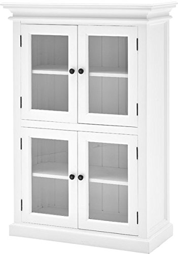 Classy Kitchen Cabinet, 4 Beveled Glass Doors, 4 Internal Shelves, Antique Brass Hardware, Flat Pantry Top, Kiln Dried Solid Mahogany, White Finish, Ample Storage Space for Any Style Kitchen by Jaxterrific