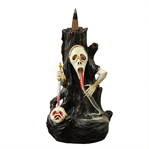 ZINGYOU Skull Backflow Incense Burner, Resin Incense Holder with Incense Cones - Halloween Ghost Head, Skull (Ghost head)