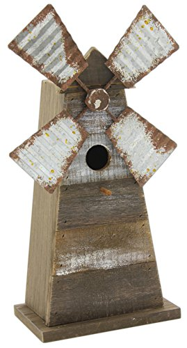 Mill Birdhouse - DCC Primitive Wooden Windmill Birdhouse 14.5