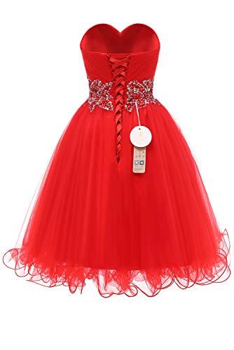Abendkleid Damen Kurz Ivydressing Tuell Rot Partykleider Sweetheart Cocktailkleid Brautbegleiterin Steine wYdaxOqg