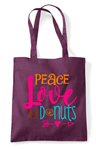 Peace Bag Statement Plum Shopper Love And Tote Donuts BqrBTna