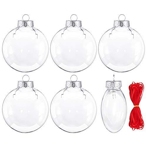 Auihiay Plastic Disc Ornaments Clear Christmas Disc, 3.15 inch (80 mm), Pack of 6