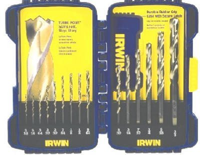 Irwin Industrial Tools 63737 TiN Coated Jobber Length Metal Index Drill Bit Set, 15-Piece