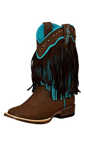 Blazin Roxx Girls' Candace Zipper Fringe Boot Square Toe Brown 9.5 US