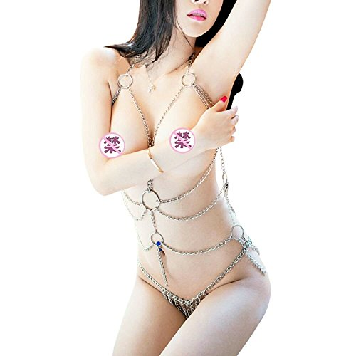 CMDOLL Enticing Women's Tassel Body Harness Chain S-E-X-Y Lingerie Chain Set Exotic Woman Breast Bra Bondage Costumes for Role-Playing Games