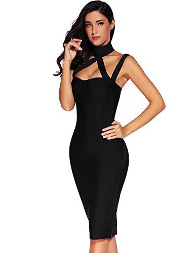 Meilun Dress Straless Bandage Bodycon Black Sleeveless Dress Womens AwxrqUAp