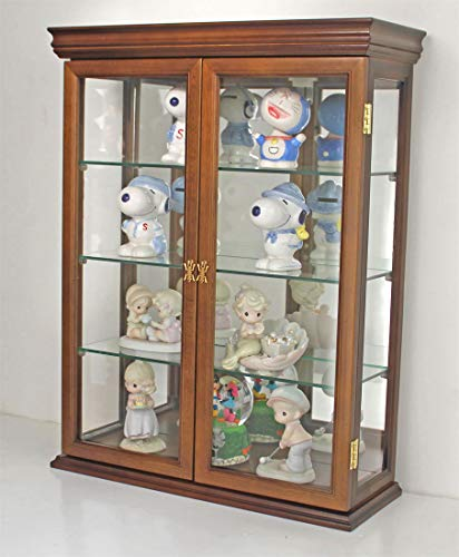 wood and glass display cabinet - 7