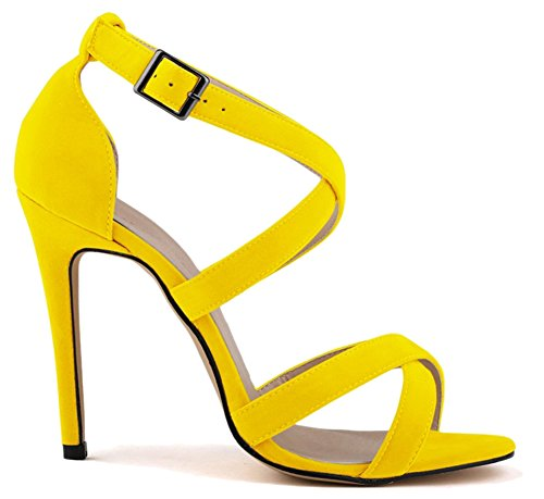 amarillo tacón Zapatos FangstoSandals mujer chica de nXzSE0qf