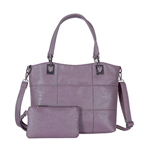 PU 32cm Shoulder 27cm Bags Leather Purple 2Pcs Women 13cm Black 5xaqwnBp