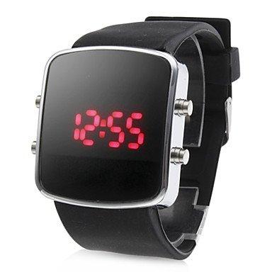 Reloj unisex con pantalla digital LED rojo & cuadrada esfera & correa de silicona negra