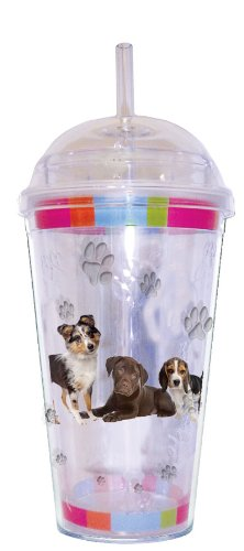 LittleGifts Puppies 18-Ounce Dome Etched Cup