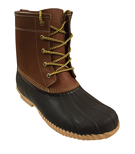 Sporto-Men's Duck Boot-Leather Shaft/Rubber Foot-Tan/Brown (9-M)