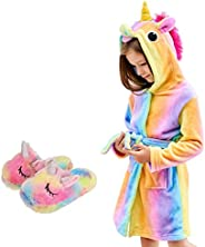 HulovoX Unicorn Hooded Bathrobe with Slippers, Unicorn Gifts for Girls