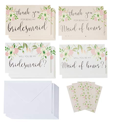 Sustainable Greetings 24-Pack Bridal Party Request Kit - 12 Bridesmaid and Maid of Honor Proposal Cards and 12 Thank You Cards, Envelopes Included, 4 x 6 Inches ()