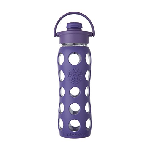Lifefactory 22-Ounce BPA-Free Glass Water Bottle with Flip Cap and Protective Silicone Sleeve, Purple