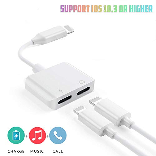 Headphone Adapter for iPhone X Dual Headphone Jack Audio Charger Splitter Dongle Headphone Audio+Charger for iPhone Music Control Charger and Phone Call Function Compatible for iPhone 7/8/ X/XS/XR ()