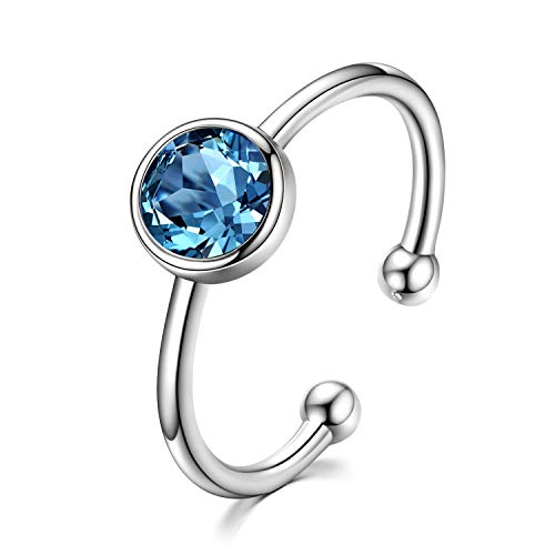 AOBOCO 925 Solid Sterling Silver Rings March Rings Mar Aquamarine Light Sapphire Blue Adjustable Ring for Women Girls Stackable Wrap Open Ring Crystals from Swarovski (Mar) ()